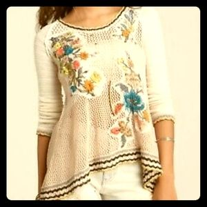 'Menagerie' Embroidered Crochet Sweater